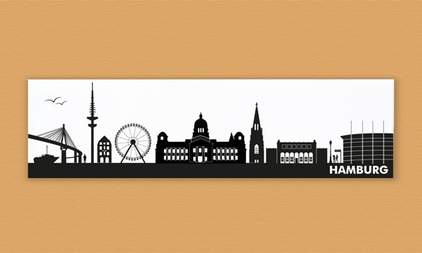 skyline hamburg leinwand auf keilrahmen gespannt 75 x 20 cm. Black Bedroom Furniture Sets. Home Design Ideas
